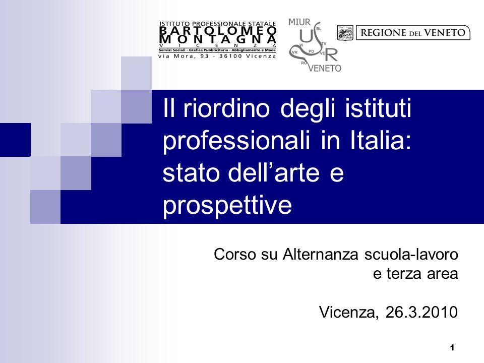1 Il riordino degli istituti professionali in Italia: stato dellarte e prospettive Corso su Alternanza scuola-lavoro e terza area Vicenza, 26.3.2010