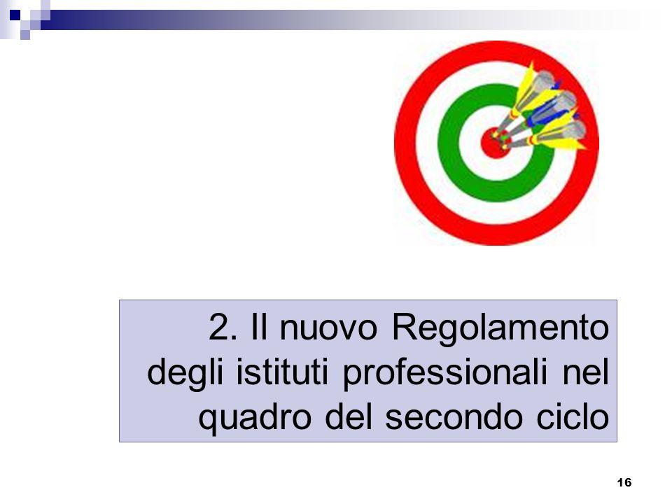 16 2. Il nuovo Regolamento degli istituti professionali nel quadro del secondo ciclo