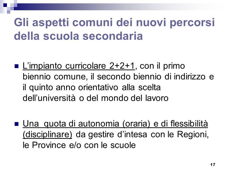 17 Gli aspetti comuni dei nuovi percorsi della scuola secondaria Limpianto curricolare 2+2+1, con il primo biennio comune, il secondo biennio di indir