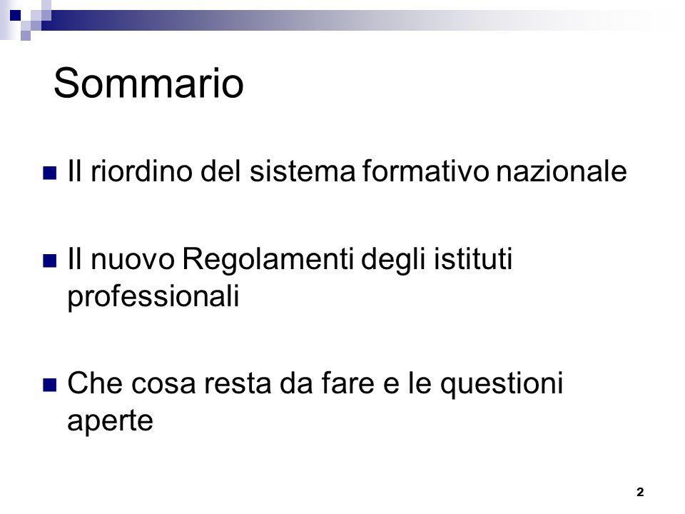 2 Sommario Il riordino del sistema formativo nazionale Il nuovo Regolamenti degli istituti professionali Che cosa resta da fare e le questioni aperte