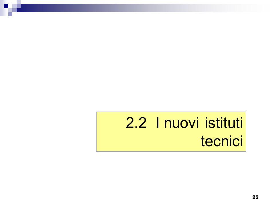 22 2.2 I nuovi istituti tecnici
