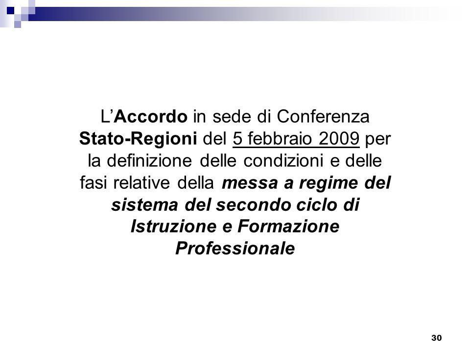 30 LAccordo in sede di Conferenza Stato-Regioni del 5 febbraio 2009 per la definizione delle condizioni e delle fasi relative della messa a regime del