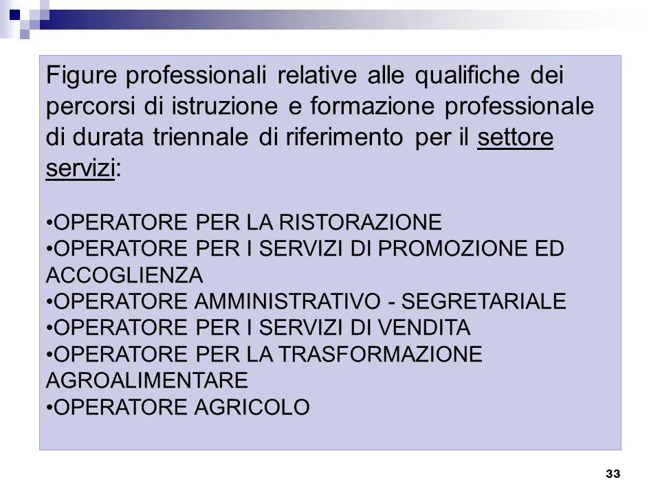 33 Figure professionali relative alle qualifiche dei percorsi di istruzione e formazione professionale di durata triennale di riferimento per il setto