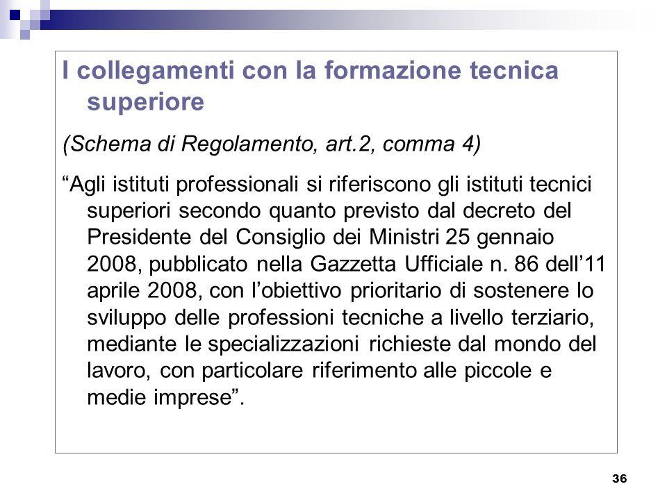 36 I collegamenti con la formazione tecnica superiore (Schema di Regolamento, art.2, comma 4) Agli istituti professionali si riferiscono gli istituti