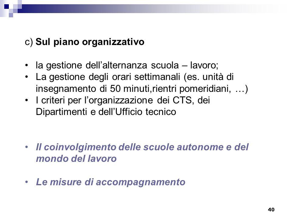 40 c) Sul piano organizzativo la gestione dellalternanza scuola – lavoro; La gestione degli orari settimanali (es. unità di insegnamento di 50 minuti,