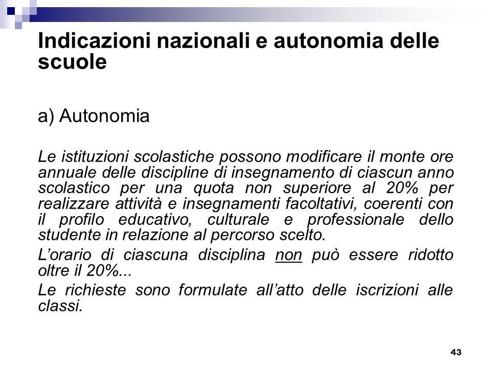 43 Indicazioni nazionali e autonomia delle scuole a) Autonomia Le istituzioni scolastiche possono modificare il monte ore annuale delle discipline di