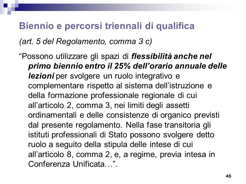 45 Biennio e percorsi triennali di qualifica (art. 5 del Regolamento, comma 3 c) Possono utilizzare gli spazi di flessibilità anche nel primo biennio