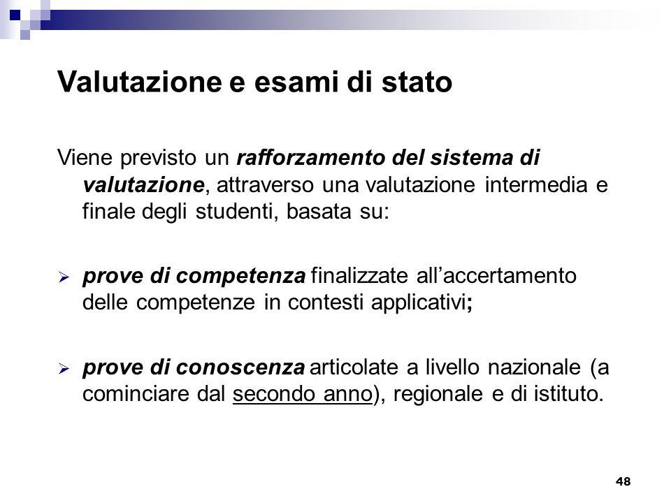 48 Valutazione e esami di stato Viene previsto un rafforzamento del sistema di valutazione, attraverso una valutazione intermedia e finale degli stude