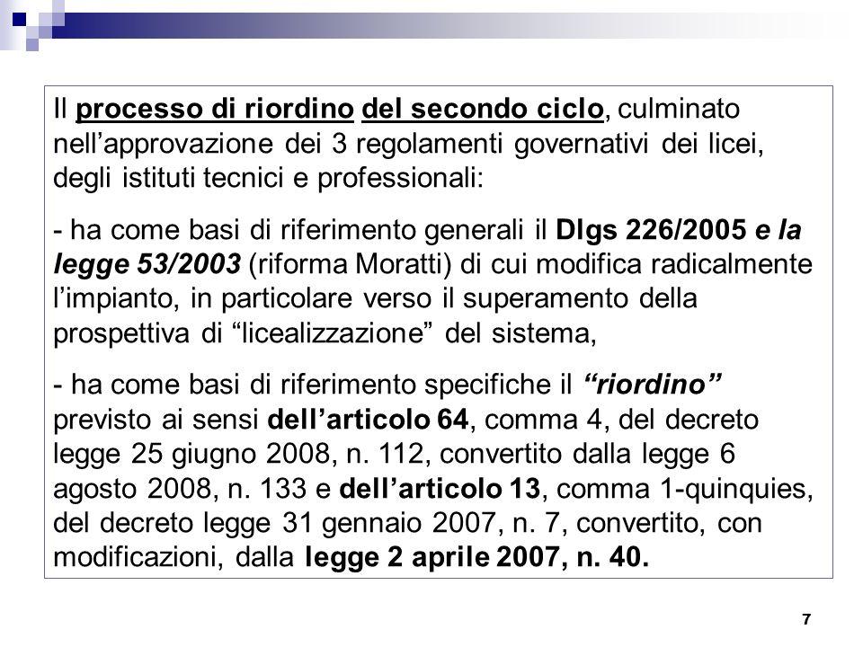 7 Il processo di riordino del secondo ciclo, culminato nellapprovazione dei 3 regolamenti governativi dei licei, degli istituti tecnici e professional