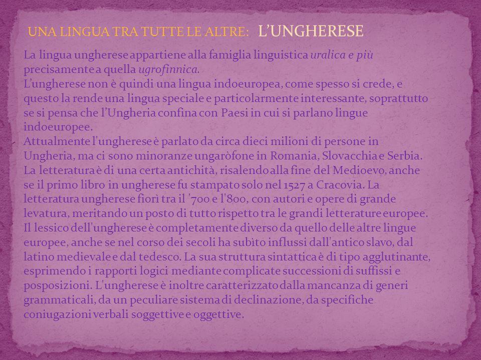 UNA LINGUA TRA TUTTE LE ALTRE: LUNGHERESE La lingua ungherese appartiene alla famiglia linguistica uralica e più precisamente a quella ugrofinnica.
