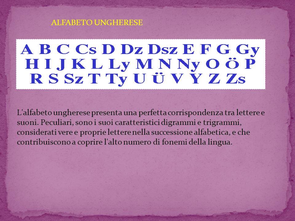 ALFABETO UNGHERESE L alfabeto ungherese presenta una perfetta corrispondenza tra lettere e suoni.