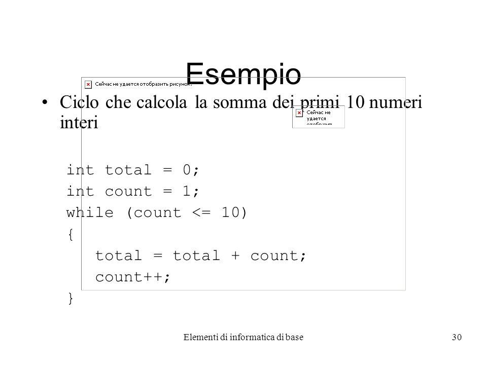 Elementi di informatica di base30 Esempio Ciclo che calcola la somma dei primi 10 numeri interi int total = 0; int count = 1; while (count <= 10) { total = total + count; count++; }