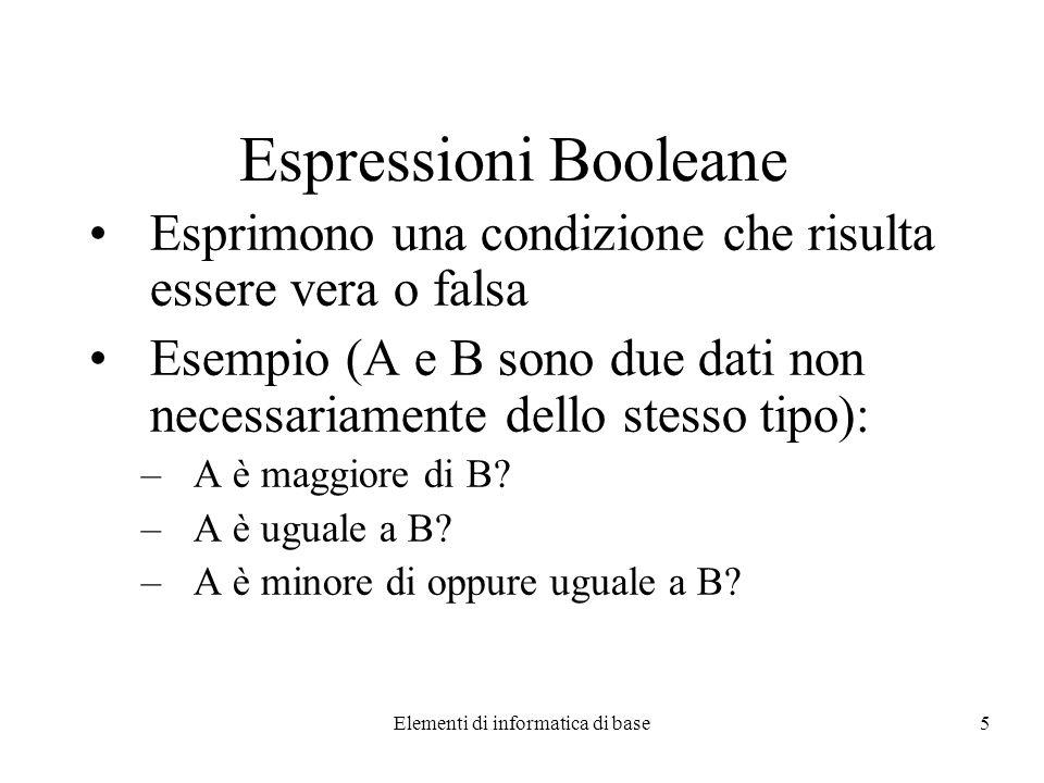 Elementi di informatica di base5 Espressioni Booleane Esprimono una condizione che risulta essere vera o falsa Esempio (A e B sono due dati non necessariamente dello stesso tipo): –A è maggiore di B.