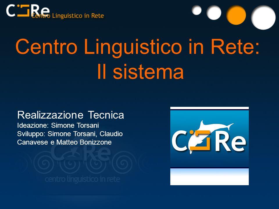 Centro Linguistico in Rete: Il sistema Realizzazione Tecnica Ideazione: Simone Torsani Sviluppo: Simone Torsani, Claudio Canavese e Matteo Bonizzone