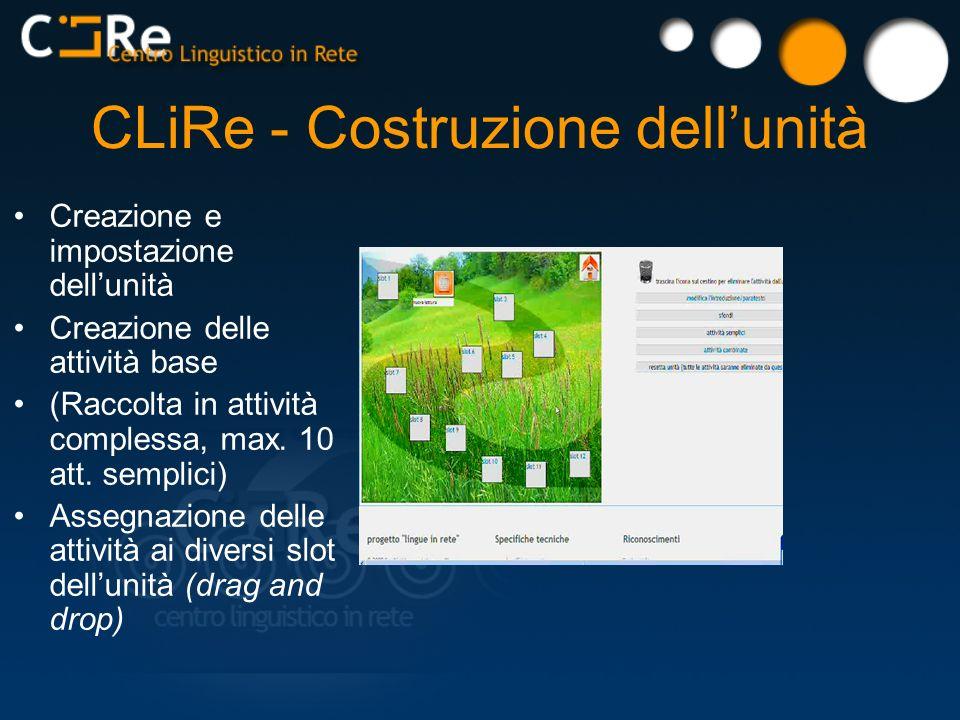 CLiRe - Costruzione dellunità Creazione e impostazione dellunità Creazione delle attività base (Raccolta in attività complessa, max.