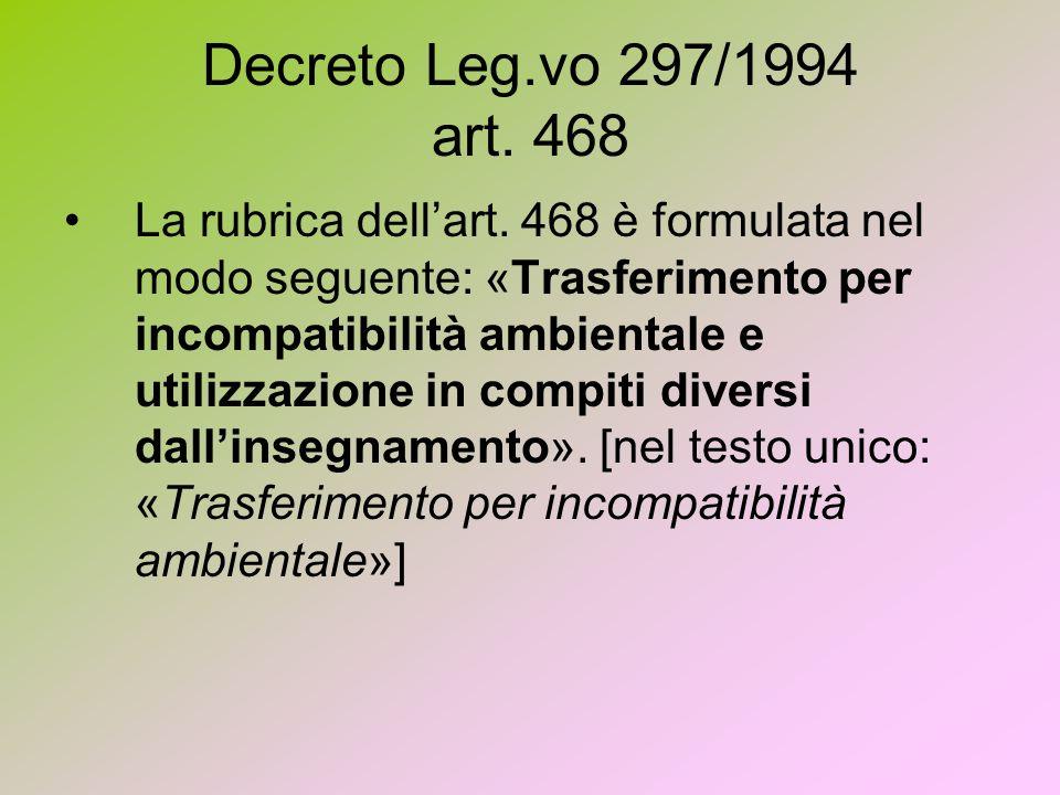Decreto Leg.vo 297/1994 art. 468 La rubrica dellart. 468 è formulata nel modo seguente: «Trasferimento per incompatibilità ambientale e utilizzazione