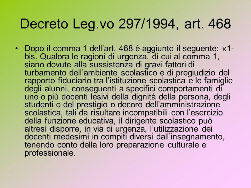 Decreto Leg.vo 297/1994, art. 468 Dopo il comma 1 dellart.