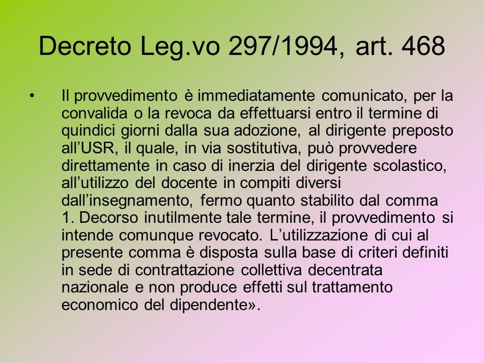 Decreto Leg.vo 297/1994, art. 468 Il provvedimento è immediatamente comunicato, per la convalida o la revoca da effettuarsi entro il termine di quindi