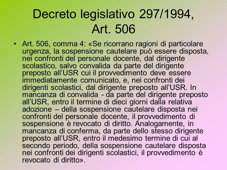 Decreto legislativo 297/1994, Art. 506 Art.