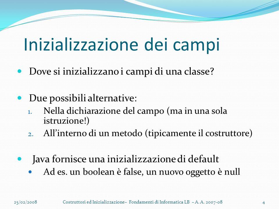 Inizializzazione dei campi Dove si inizializzano i campi di una classe.