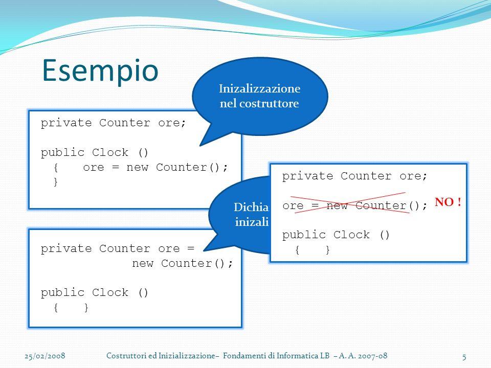 private Counter ore; public Clock () {ore = new Counter(); } Esempio 25/02/2008Costruttori ed Inizializzazione– Fondamenti di Informatica LB – A.