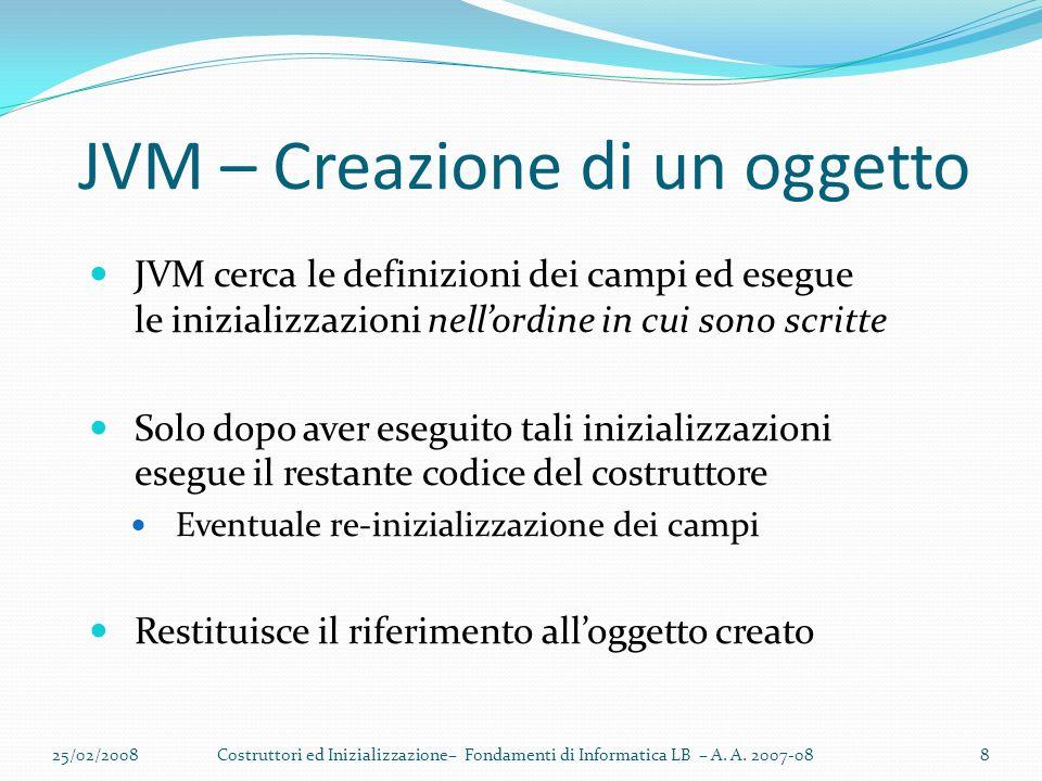 JVM – Creazione di un oggetto 25/02/20088Costruttori ed Inizializzazione– Fondamenti di Informatica LB – A.