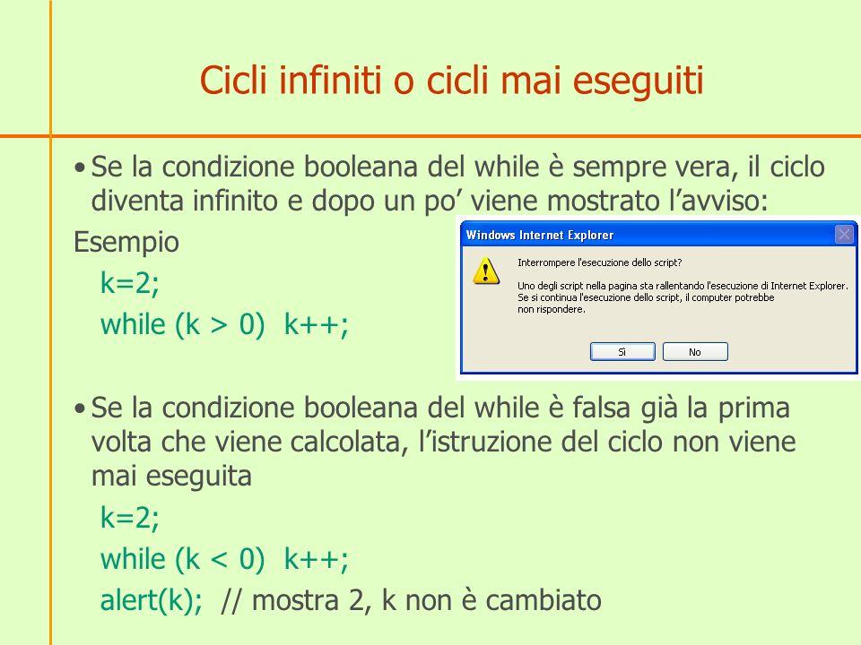 Primi esempi 1) Trova il più piccolo divisore diverso da 1 di un numero x (esempio: se x = 15 deve trovare 3) x= prompt( inserisci un numero intero maggiore di 1 ); k=2; while (x % k != 0) k++; alert(k); Il ciclo deve essere interpretato in questo modo: fintantoché x non è multiplo di k aumenta k Quando il resto è zero, la condizione diventa falsa ed esce dal ciclo.