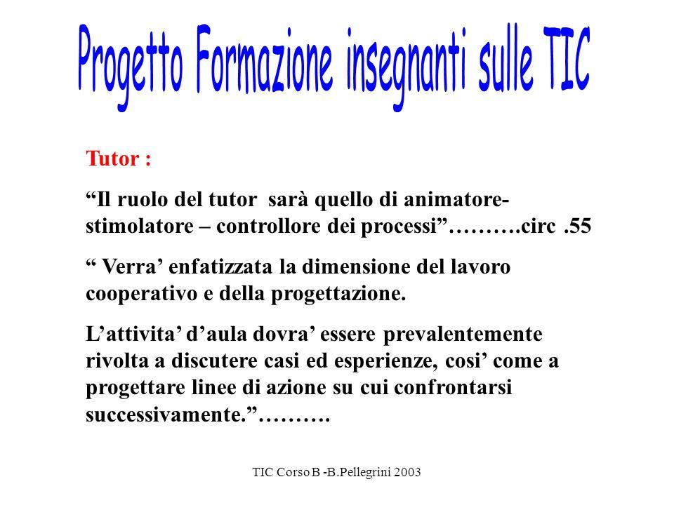 TIC Corso B -B.Pellegrini 2003 Tutor : Il ruolo del tutor sarà quello di animatore- stimolatore – controllore dei processi……….circ.55 Verra enfatizzata la dimensione del lavoro cooperativo e della progettazione.