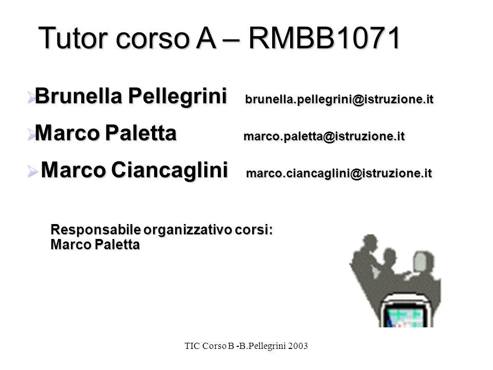 TIC Corso B -B.Pellegrini 2003 Tutor corso A – RMBB1071 Brunella Pellegrini brunella.pellegrini@istruzione.it Brunella Pellegrini brunella.pellegrini@istruzione.it Marco Paletta marco.paletta@istruzione.it Marco Paletta marco.paletta@istruzione.it Marco Ciancaglini marco.ciancaglini@istruzione.it Marco Ciancaglini marco.ciancaglini@istruzione.it Responsabile organizzativo corsi: Marco Paletta