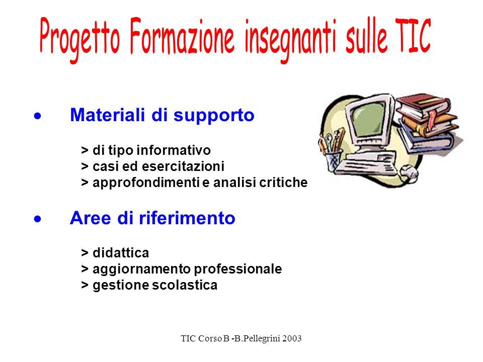 TIC Corso B -B.Pellegrini 2003 Materiali di supporto > di tipo informativo > casi ed esercitazioni > approfondimenti e analisi critiche Aree di riferimento > didattica > aggiornamento professionale > gestione scolastica