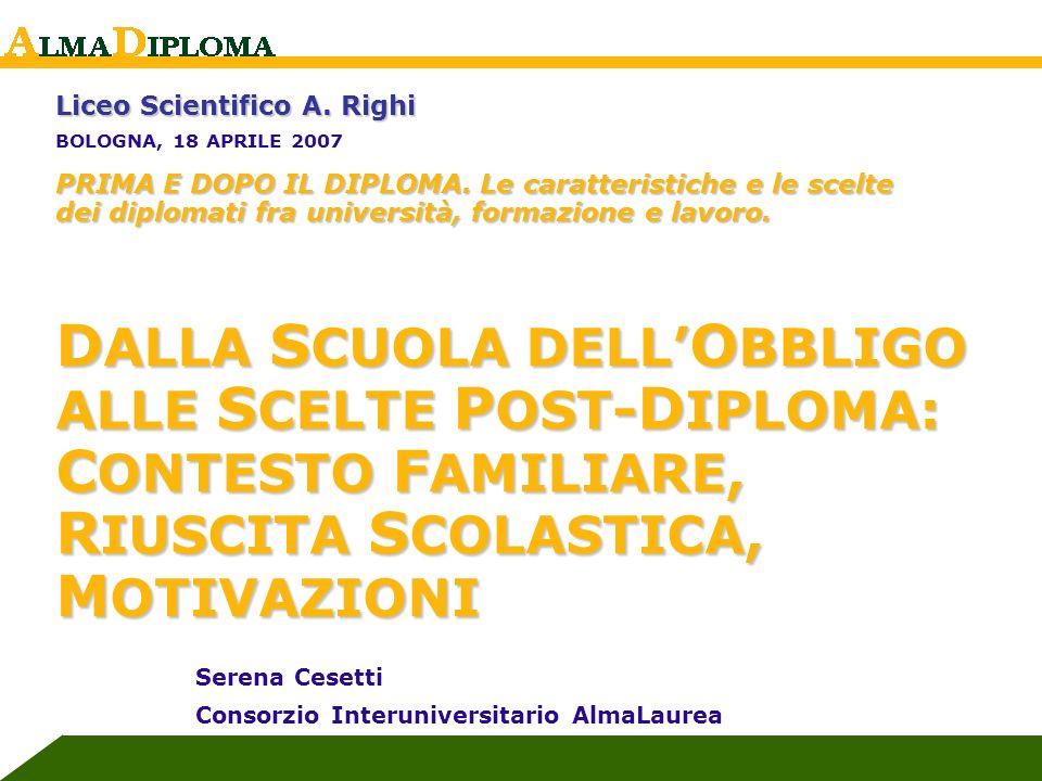 S. Cesetti, AlmaLaurea Liceo Scientifico Righi, Bologna, 2007 Liceo Scientifico A. Righi BOLOGNA, 18 APRILE 2007 PRIMA E DOPO IL DIPLOMA. Le caratteri