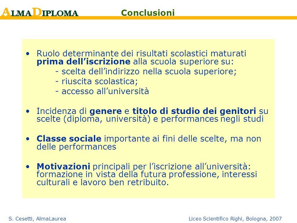S. Cesetti, AlmaLaurea Liceo Scientifico Righi, Bologna, 2007 Ruolo determinante dei risultati scolastici maturati prima delliscrizione alla scuola su