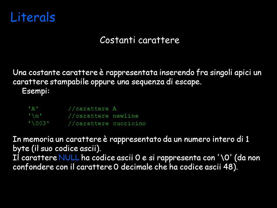 Literals Una costante carattere è rappresentata inserendo fra singoli apici un carattere stampabile oppure una sequenza di escape.