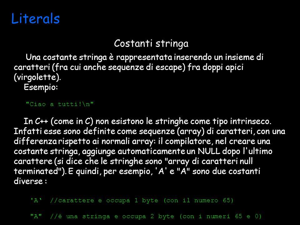 Literals Una costante stringa è rappresentata inserendo un insieme di caratteri (fra cui anche sequenze di escape) fra doppi apici (virgolette).