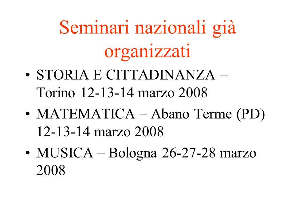 Seminari nazionali già organizzati STORIA E CITTADINANZA – Torino 12-13-14 marzo 2008 MATEMATICA – Abano Terme (PD) 12-13-14 marzo 2008 MUSICA – Bolog