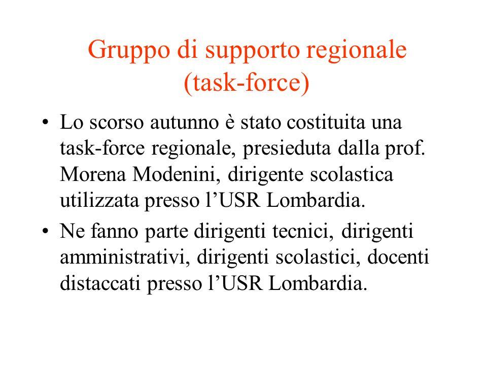 Gruppo di supporto regionale (task-force) Lo scorso autunno è stato costituita una task-force regionale, presieduta dalla prof. Morena Modenini, dirig