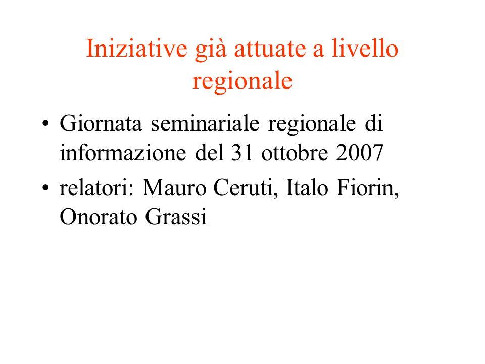 Iniziative già attuate a livello regionale Giornata seminariale regionale di informazione del 31 ottobre 2007 relatori: Mauro Ceruti, Italo Fiorin, On