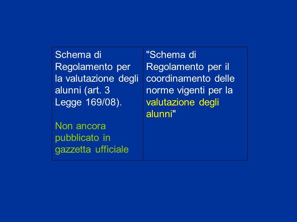 Schema di Regolamento per la valutazione degli alunni (art.