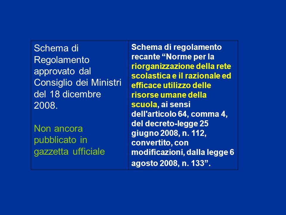 Schema di Regolamento approvato dal Consiglio dei Ministri del 18 dicembre 2008.