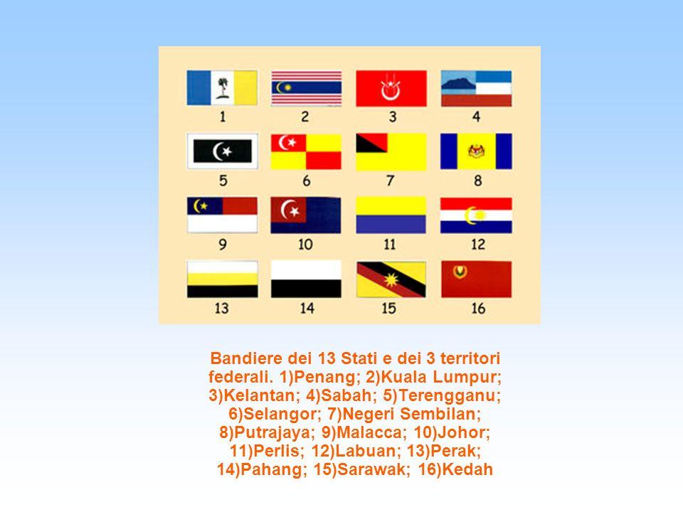 Bandiere dei 13 Stati e dei 3 territori federali. 1)Penang; 2)Kuala Lumpur; 3)Kelantan; 4)Sabah; 5)Terengganu; 6)Selangor; 7)Negeri Sembilan; 8)Putraj