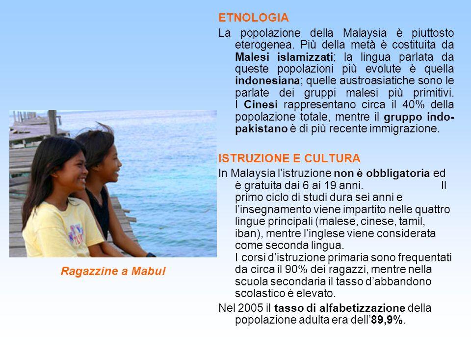 Ragazzine a Mabul ETNOLOGIA La popolazione della Malaysia è piuttosto eterogenea. Più della metà è costituita da Malesi islamizzati; la lingua parlata
