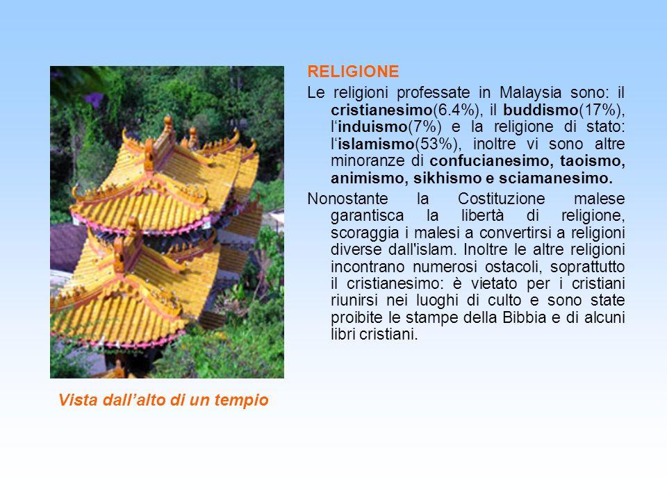 Vista dallalto di un tempio RELIGIONE Le religioni professate in Malaysia sono: il cristianesimo(6.4%), il buddismo(17%), linduismo(7%) e la religione