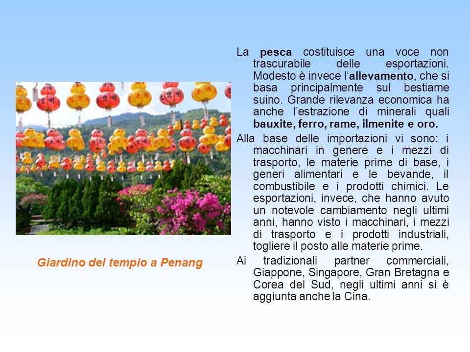 Giardino del tempio a Penang La pesca costituisce una voce non trascurabile delle esportazioni. Modesto è invece lallevamento, che si basa principalme