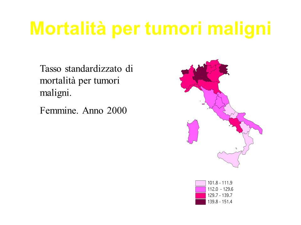 Mortalità per tumori maligni Tasso standardizzato di mortalità per tumori maligni. Femmine. Anno 2000