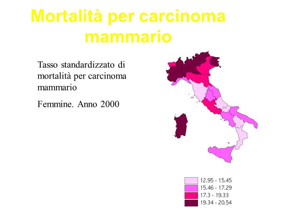Mortalità per carcinoma mammario Tasso standardizzato di mortalità per carcinoma mammario Femmine. Anno 2000