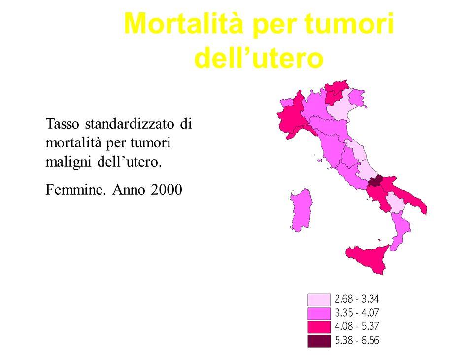 Mortalità per tumori dellutero Tasso standardizzato di mortalità per tumori maligni dellutero. Femmine. Anno 2000