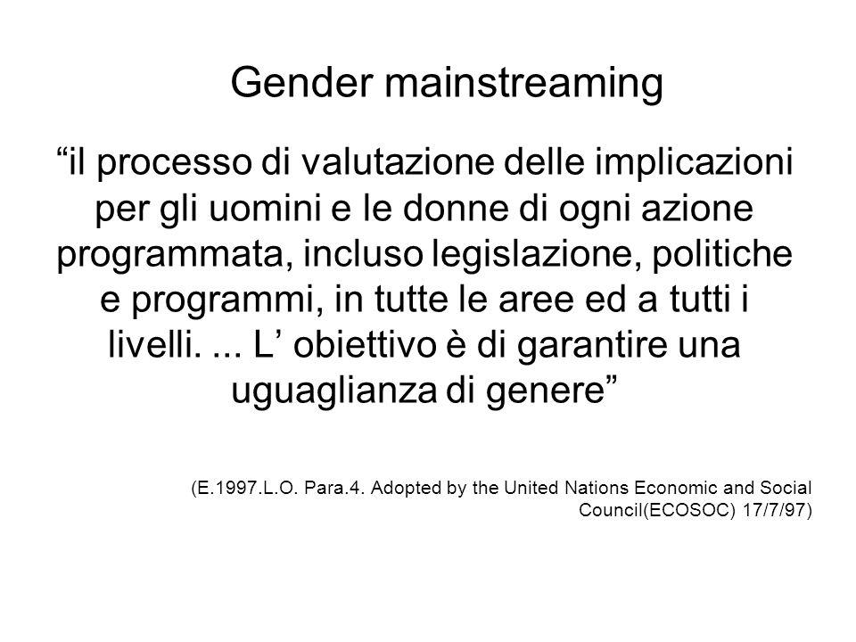 il processo di valutazione delle implicazioni per gli uomini e le donne di ogni azione programmata, incluso legislazione, politiche e programmi, in tu