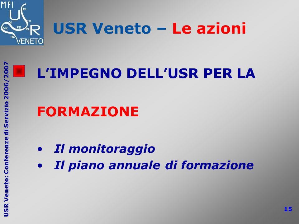 USR Veneto: Conferenze di Servizio 2006/2007 15 USR Veneto – Le azioni LIMPEGNO DELLUSR PER LA FORMAZIONE Il monitoraggio Il piano annuale di formazio