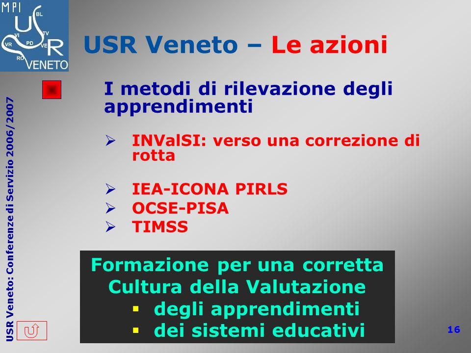 USR Veneto: Conferenze di Servizio 2006/2007 16 USR Veneto – Le azioni I metodi di rilevazione degli apprendimenti INValSI: verso una correzione di ro