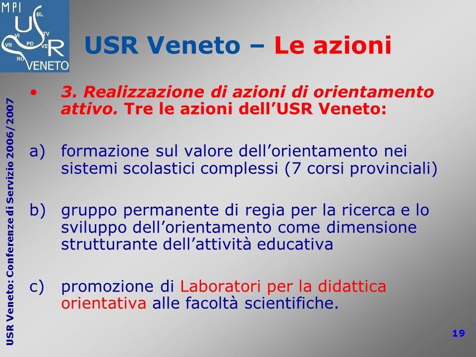 USR Veneto: Conferenze di Servizio 2006/2007 19 USR Veneto – Le azioni 3. Realizzazione di azioni di orientamento attivo. Tre le azioni dellUSR Veneto